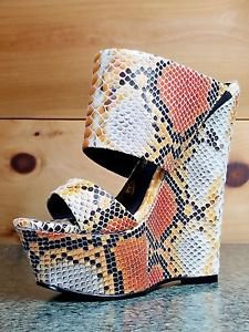 Nelly Pacs Nude Orange Snake Double Strap Slip On Wedge Heel 6 -11