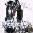 "Privileged Golden Open Toe Cluster Crystal Jeweled Toe Strap 5"" Heel Shoe Black"