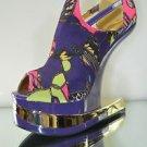 Mona Mia Aymor Purple Satin Multi Color Heel Less Open Toe Wedge Shoe