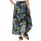 Jaclyn Smith Women's Tropical Black Green Floral Hi-Lo Crinkle Skirt 2X  New
