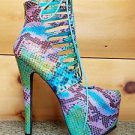 Privileged Denmark Teal Multi Color Snake Corset Ankle Boot High Heel Shoe
