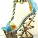 Privileged Picasso Teal Blue T Strap Gold Chained Geometric Cut Heel Wedge 7.5
