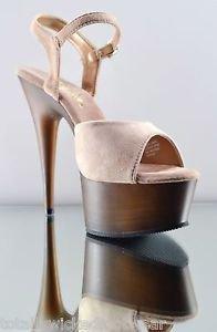 "Pleaser Delight 609 FW Suede Upper Ankle Strap Faux Wood Platform Shoe 6""  5-14"