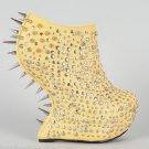 "Privileged Yellow Dragon Scale Spiked Heel Less Wedge Platform 7"" Shoe Clearance"
