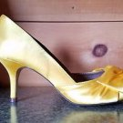 Luichiny Best One Yet Canary Yellow Open Toe Satin  Pump Shoe 7 - 11