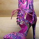 "Athena Biri Fuchsia Multi Color Abstract Animal Print  4"" Heel Pointy Toe Shoe"