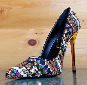 Privileged Rolling Black Gold Multi Color Sequin Pointy Toe Pump Shoe 8.-10