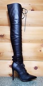 Cape Artena Black Open Lace Up Pointed Toe Thigh High Boots 6-10