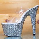 "Bejeweled 702 PS Silver Pyramid Rhinestone Platform 2 Band Shoe 7"" Heel Size 10"