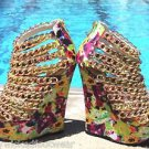 """Caked Up Watercolors Multiple Chain Strapped Vamp Platform Wedge Shoe 6"""" Heel"""