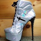 Mona Mia Anapaula Iridescent Silver Spiked Heel Platform Ankle Sneaker Boot 7-11