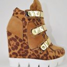 Convince Lug Sole 3 Metallic Band Sneaker Wedge Shoe Tan Leopard 5.5 - 10