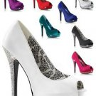 Bella 12 Satin upper Rhinestone Platform Open Toe High Heel Shoe Wedding Prom