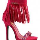 """Athena Elsie Fuchsia Fringe Ankle Cuff 4"""" Mini Platform Sandal Shoe Size 10"""