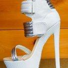 Fahrenheit Fiona-05 Snake Open Toe Wrapped Platform Heel White Silver Size 7
