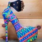 RK High Life Neon Tribal Empire Platform Pump Shoe Lion Ankle Strap Charm Size 9