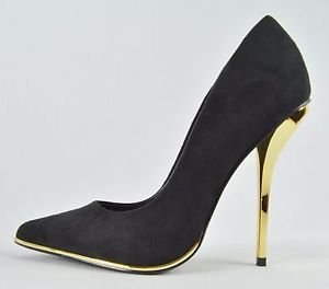 Luichiny Mind Blowing Black Suedette Pointy Toe High Heel Pump Shoe 7 - 11