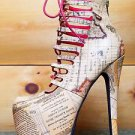 Privileged Denmark Tan Atlas Map Print Lace Up High Heel Shoe