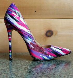 Alba Jamie Fuchsia Multi-colored Pointy Toe Pump Stiletto Heel 6-11