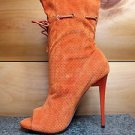 Mona Mia Alectrona Open Toe Preforated Drawstring Mid Calf Boot 7-11 Orange