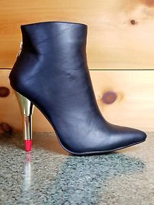 Kiss Me By RK Black Pointy Toe Ankle Boot With Lipstick Heel Size 10