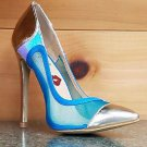 RK Lust Love Blue Mesh Panel Hologram Gold Pointy Toe / Heel Shoe 5.5 - 7 - 7.5