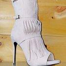 Athena Billie Nude Beige Fringe Mid Calf Peep Toe Boot Size 10