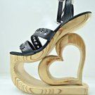 "Fine Leather 7.5"" Wooden Heart Cut out  Platform Heel Wedge Any Color U Want USA"