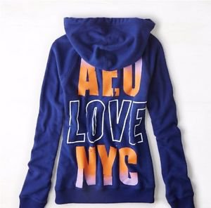 AMERICAN EAGLE AE Blue NYC Back Graphic Hoodie Sweatshirt