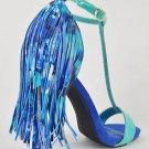 Privileged Strada Teal Blue T Strap Sandal Fringe Back High Heel Shoe 6-11
