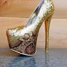 "Liliana Aisha 8 Gold Hologram Python Snake Pump 6"" Heel Platform Shoe 5.5  - 10"
