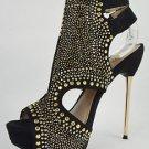 "Baker Zigi Landra Black Suede Studded Slingback 5"" Cone Stiletto Sandal Shoe"