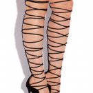 So Me Mista Demon Tie Up Laces Thigh High Heel Boot 6.5-11 FX Suede Black