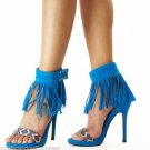 "Athena Elsie Aqua Blue Fringe Ankle Cuff 4"" Mini Platform Sandal Shoe 6.5-11"