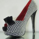 "PREVIOUSLY SOLD Bella 11 Black White Houndstooth Checker 5"" Heel Shoe Size 6"