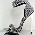 "Privileged Kyte Black White #  Print Closed Back Sandal Shoe 5"" Heel 6-11"