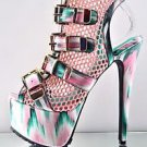 Privileged Vlush Mesh Pink Teal Multiple Color Buckle Ankle Boot Open Toe 8.5-10