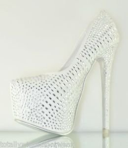Alba Yang 52 White Rhinestone Covered Platform Pump 6 - 11 Wedding Shoes