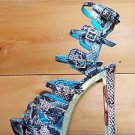 Privileged Raya Blue Teal Snake Print Strap Open Toe Chunky Heel Shoe 7-11