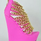 "Caked Up Fuchsia Pink Multiple Chain Strapped Vamp Platform Wedge Shoe 6"" Heel"