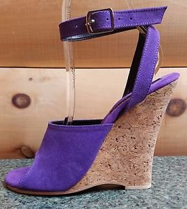 "Karo 5"" Cork Wedge Sandal Shoe Ankle Strap Upper Leather Or Suede Made USA 0888"