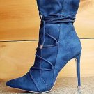 "So Me Destiny Navy Teal FX Suede Pointy Toe 4.5"" Heel Lace Up Design Ankle Boot"