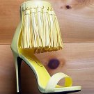 Privileged Pastel Yellow Open Toe Tassel Fringe Closed Back Stiletto Heel Shoe
