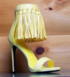 Privileged Pastel Yellow Open Toe Tassel Fringe Closed Back Stiletto Heel Shoe