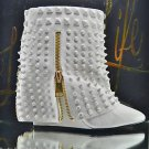 Lust for Life Battle Quality White Leather Studded Slip On Ankle Boot 7-11