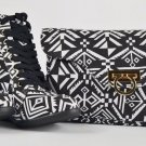 TM Black White Canvas Tribal Print Sneaker Wedge/Matching Purse Clutch Size 6.5