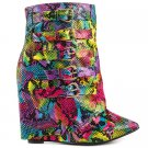 "Nelly HighLife Rainbow Multi Snake Fold-over  Boot 4"" Wedge High Heel Shoe 6-11"