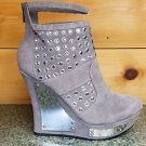 Alba Jimmy Gray FX Suede Wedge Boot Button Gem Silver Shields Size 10