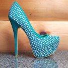 Alba Marisol Sea Green Big Iridescent Rhinestone Party Shoes Platform Pumps 6-10
