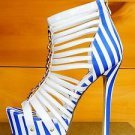RK Candy Cane White Blue Stripe Strappy Cage Bootie Platform Shoe Size 8.5